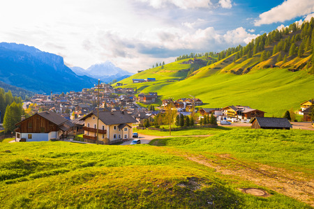 Picturesque alpine village of San Cassiano view, Dolomites Alps in South Tyrol, Italy