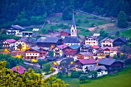 Picturesque alpine village of Tisens aerial evening view, Kastelruth, Trentino Alto Adige region of of Italy