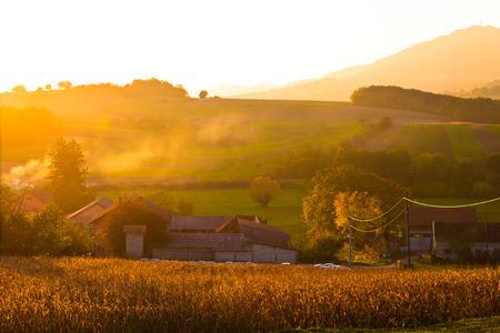 Golden sunset in rural region of Croatia, Kalnik mountain in Prigorje region of Croatia Stock Photo