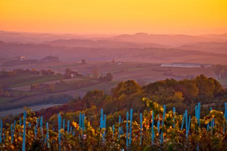 Agricultural landscape of Croatia sunset view, Prigorje region