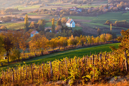 Autumn view of church on the rural hills, Prigorje agricultural region of Croatia