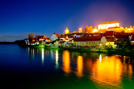 Town of Ptuj and Drava river evening riverfront view, northern Slovenia Stock Photo