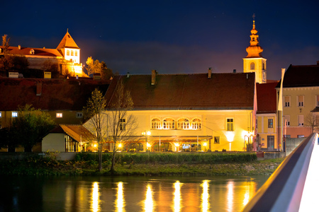Old Town of Ptuj evening riverfront view, northern Slovenia