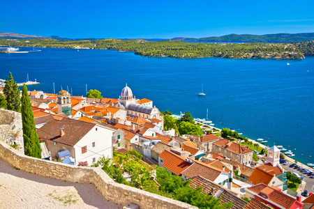 Sibenik waterfront and st. James cathedral view from above, Dalmatia, Croatia