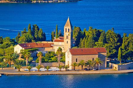 Scenic island of Vis church and waterfront view, Dalmatia archipelago of Croatia Stock Photo