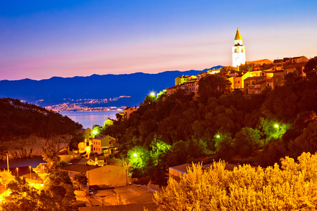 Town of Vrbnik on Krk island evening view, Kvarner bay archipelago of Croatia