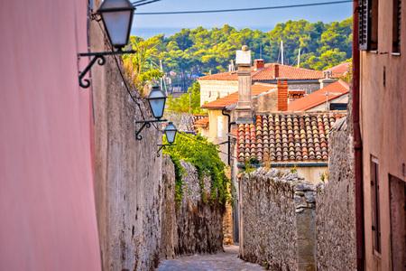 Old town of Krk stone street view, Kvarner bay archipelago of Croatia