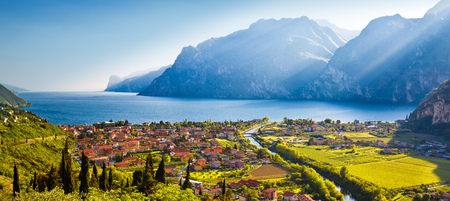 Town of Torbole and Lago di Garda sunset view, Trentino Alto Adige region of Italy