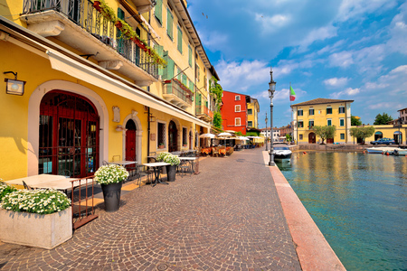 Lazise colorful harbor and boats view, Lago di Garda, Veneto region of Italy
