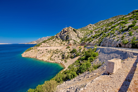 Scenic coastal road under Velebit mountain, Lika region of Croatia