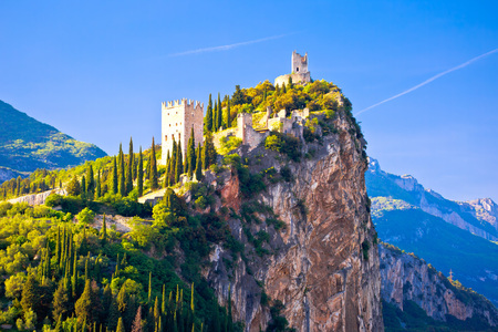 Arco castle on high rock view, Sarca Valley, Trentino Alto Adige region of Italy