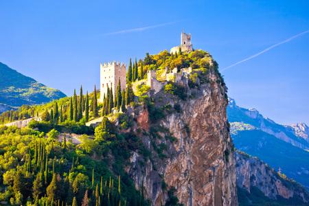 Arco castle on high rock view, Sarca Valley, Trentino Alto Adige region of Italy