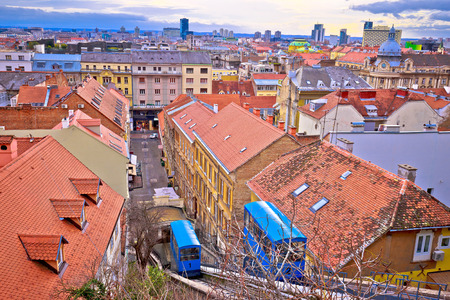 Zagreb funicular ad rooftops of old center, capital of Croatia Фото со стока