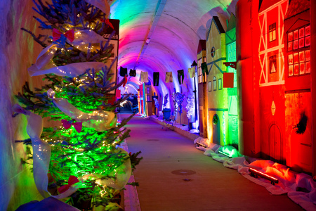 Historic underground tunnel under Zagreb historic town in Christmas decoration, capital of Croatia