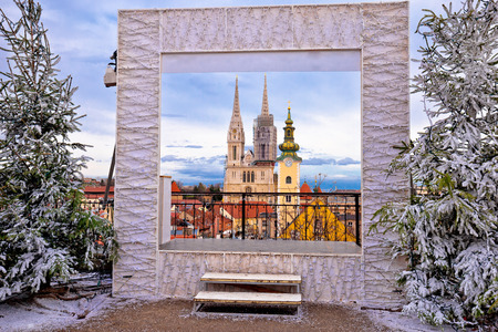 Zagreb cathedral and cityscape advent view, famous landmarks of Croatian capital city Фото со стока