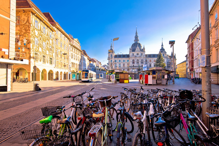 City of Graz Hauptplatz main square advent view, Steiermark region of Austria Standard-Bild
