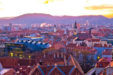 Graz city center aerial sunset view, Styria region of Austria Stock Photo