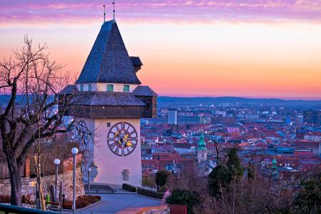 Graz landmark and cityscape dusk view from Schlossberg, Styria region of Austria