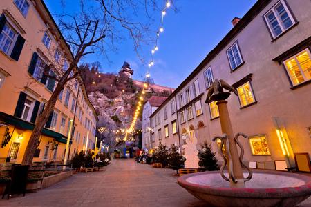 Graz city center christmas fair evening view, Styria region of Austria