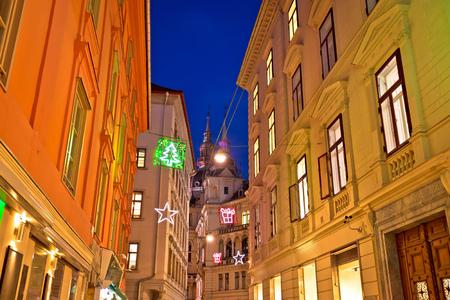 Graz city center christmas street evening view, Styria region of Austria