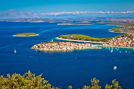 Adriatic tourist destination of Primosten aerial panoramic archipelago view, Dalmatia, Croatia