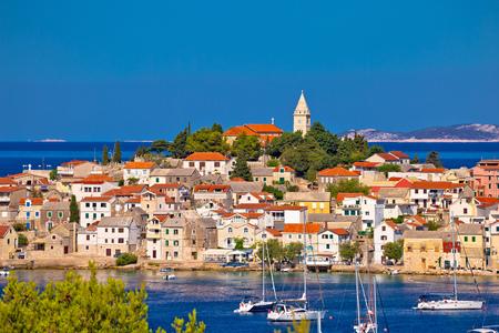 Adriatic tourist destination of Primosten skyline view, Dalmatia region of Croatia Stock Photo