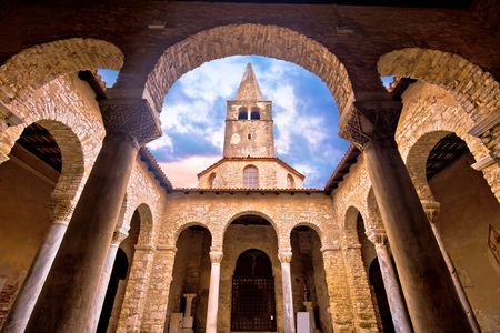 Euphrasian Basilica in Porec arcades and tower view in Istria, Croatia Editorial