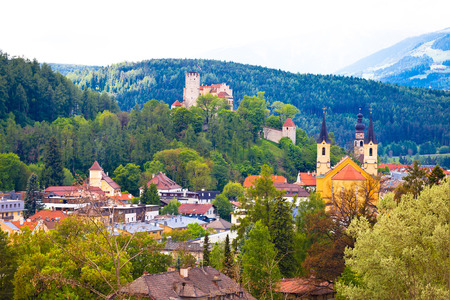Town of Bruneck in Val Pusteria, South Tyrol alpine region of Italy
