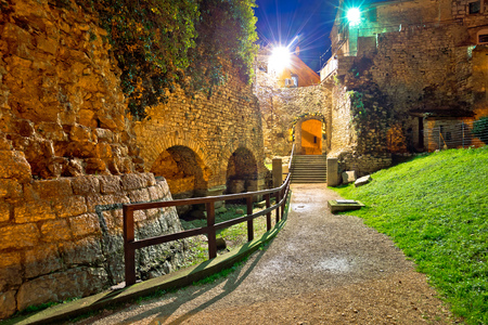 Town of Porec old walls evening view