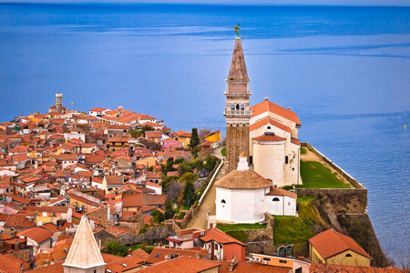 Town of Piran on Adriatic sea historic landmarks and rooftops view, Slovenia