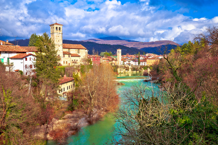 Cividale del Friuli on cliffs of Natisone river canyon, Friuli-Venezia Giulia region of Italy Stock fotó