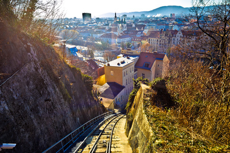 Graz cityscape view from Schlossberg hill funicular, Styria region of Austria