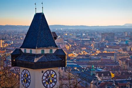 Graz landmark and cityscape view from Schlossberg, Uhrturm, Styria region of Austria
