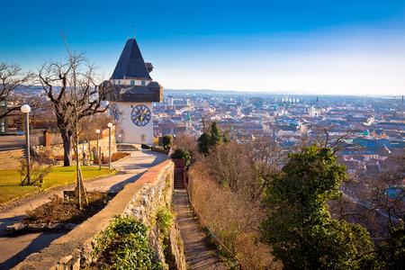 Uhrturm landmark and Graz cityscape aerial view, Styria region of Austria Stock Photo