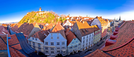Graz cityscape and Schlossberg panoramic view, Styria region of Austria Stock Photo