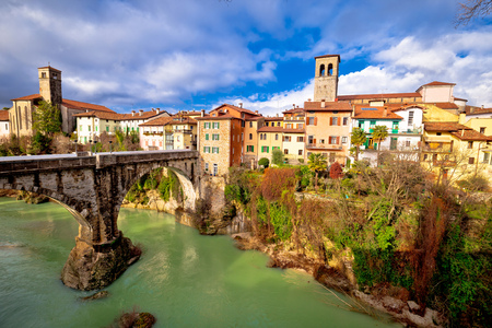 Cividale del Friuli devils bridge and Natisone river canyon panoramic view, Friuli-Venezia Giulia region of Italy