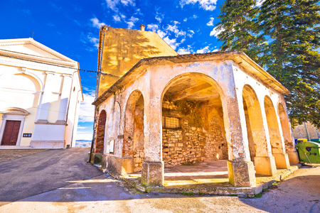 Vizinada old stone square and church view, village in Istria region of Croatia Stock Photo