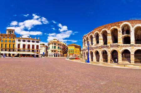 Roman amphitheatre Arena di Verona and Piazza Bra square panoramic view, landmark in Veneto region of Italy