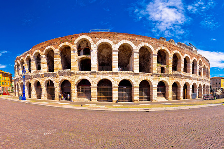 Roman amphitheatre Arena di Verona and Piazza Bra square panoramic view, landmark in Veneto region of Italy