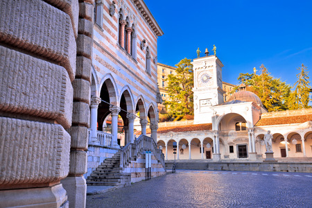 Ancient Italian square arches and architecture in town of Udine, Friuli Venezia Giulia region of Italy