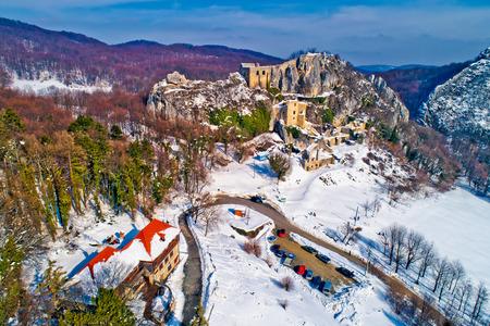 Kalnik mountain winter aerial view, fortress on cliff and lodge under rock, Prigorje region of Croatia Stock Photo