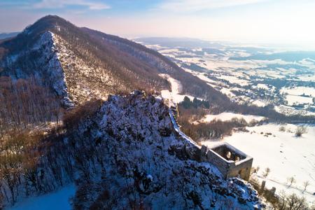 Kalnik mountain winter aerial view, fortress on cliff, Prigorje region of Croatia Stock Photo