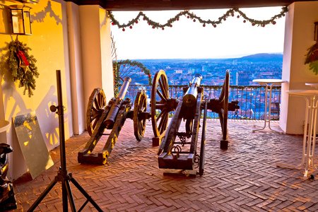 Iron cannons above Graz at sunset view, Styria region of Austria