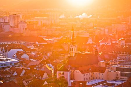Graz city center aerial sun haze view, Styria region of Austria Stock Photo