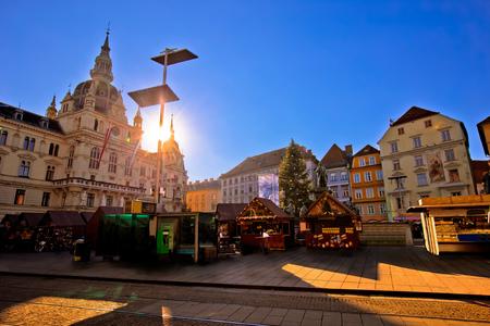 City of Graz Hauptplatz main square market view, Steiermark region of Austria