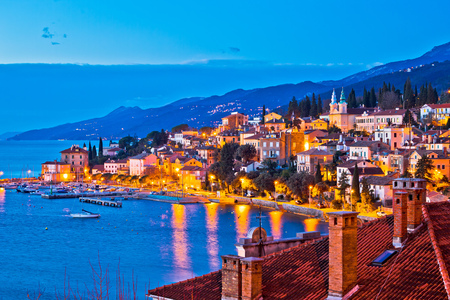 Town of Volosko evening waterfront view, Opatija riviera of Croatia