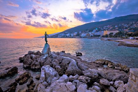 Town of Opatija waterfront sunset, Kvarner bay in Croatia