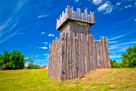 Town of Koprivnica wooden tower on trenches view, Podravina region of Croatia