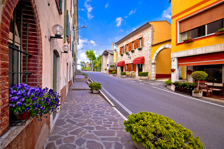 Colorful village of Spiazzi street view, Trentino Alto Adige region of Italy