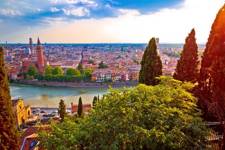 Besutiful Verona skyline at red sundown view, Veneto region of Croatia Banque d'images
